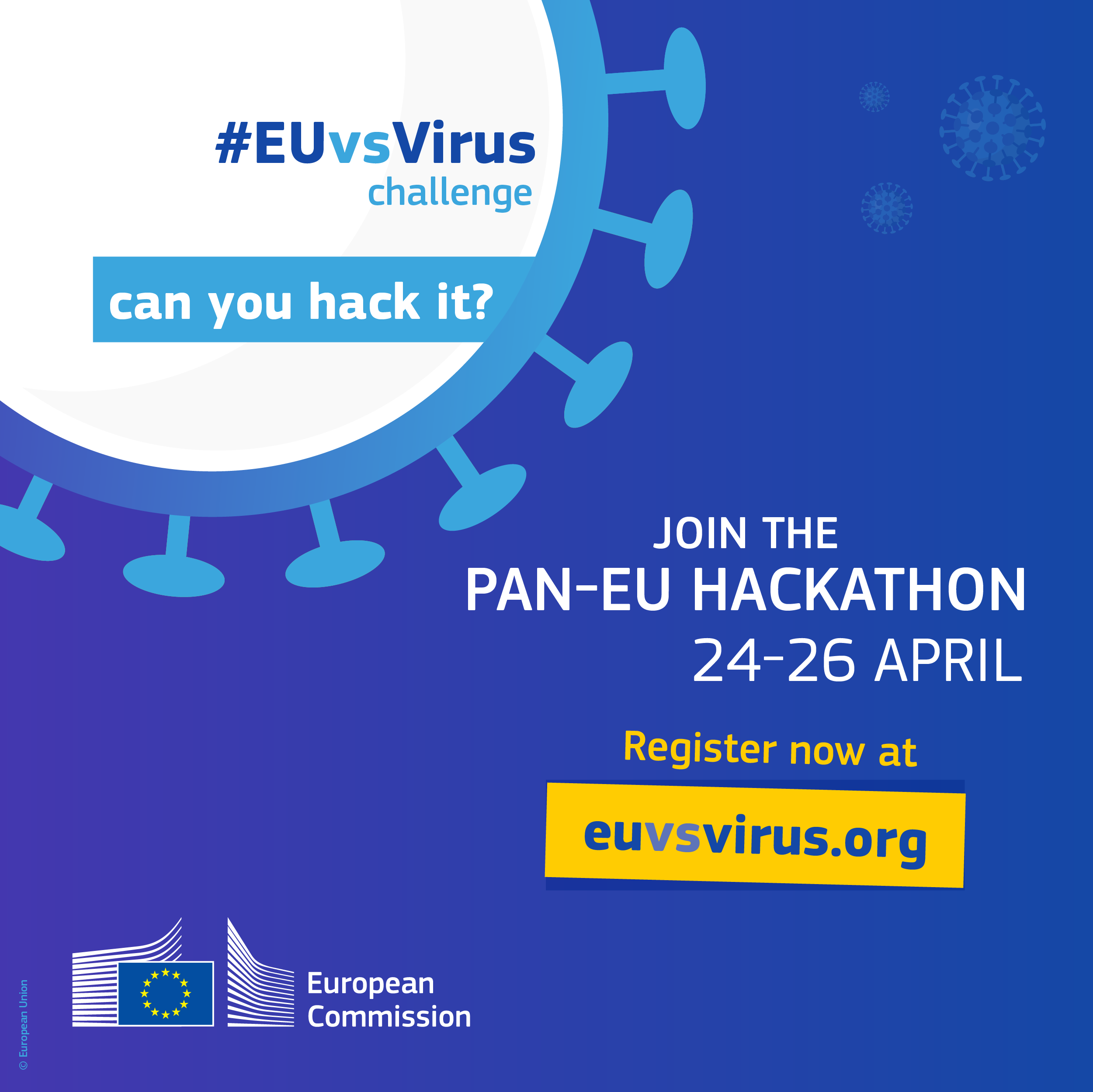 Pan-European Hackathon to develop innovative solutions to overcome societal challenges related to coronavirus