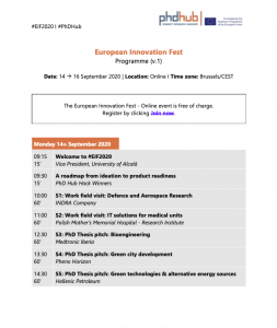 PhD Hub European Innovation Fest agenda